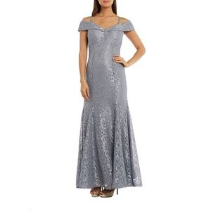 R & M Richards Long Lace Evening Gown Silver Gray